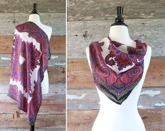 purple paisley silk scarf with hand rolled edges / black pink purple paisley pattern scarf