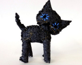 grey tweed cat - messy little kitty MADE TO ORDER
