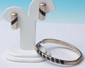 Taxco Sterling Silver Bracelet Earrings Set Black Insert Modernist Design Vintage