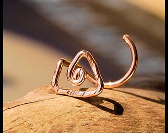 Rose Gold Filled Tribal Nose Stud / Unique Nose Stud / Triangle Nose Stud / Rock Your Nose / Nose Screw / Bone / 24G 22G 20G - CUSTOMIZE