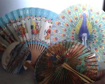 Vintage Fans, 7 Souvenir Style Fans