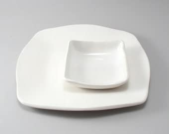 Serving Platter Set-Pottery Plate-Ceramic Tableware-Tapas Plates-White Glaze-Cheese Plate-Handmade