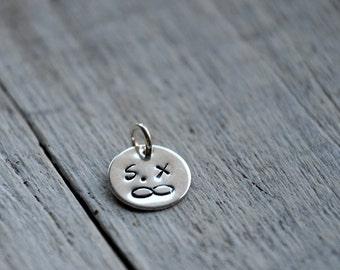 Personalised Charm, sterling silver, ONE with custom initials or symbols