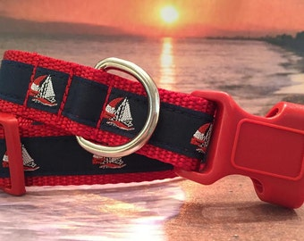 Summer Sailboat Dog Collar, In XS, S, M, L, XL Side Release Buckle Style