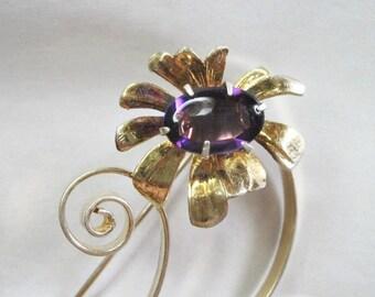 Vintage 1940s Sterling Silver Floral Spray Brooch - Flower Pin - Gold Gilt - Amethyst Color Stone - 11.1 grams