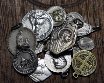 LOT of 16 Antique French Religious Medals