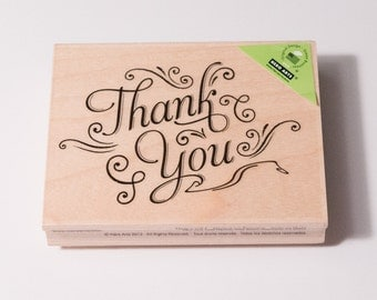 Thank You with Flourishes stamp by Hero Arts