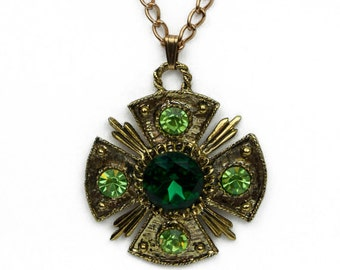 1970s Dodds Maltese Cross Peridot and Emerald Green Rhinestones Textured Gold Tone Vintage Pendant Necklace