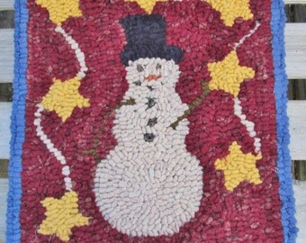 Snowman with Stars Garland Primitive Rug Hooking Kit on Monks Cloth with Cut Wool Strips