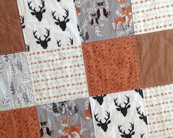 Woodland Baby Blanket-Woodland Baby Quilt-Deer Head Baby Blanket-Baby Blanket Boy-Patchwork Baby Blanket-Baby Boy Quilt-Baby Blanket Etsy