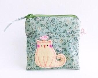 Little Coin Pouch, Gadget Case, Card Wallet, Gift idea, Small Pouch, Fabric Pouch, Cute Coin Purse, Fabric Wallet, Small Purse, Pouch - Cat