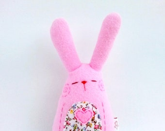 Stuffed Rabbit, Easter Rabbit, Easter Bunny, Miniature Rabbit, Plush Bunny, Bunny Softie, Pink Rabbit - Little Pinny