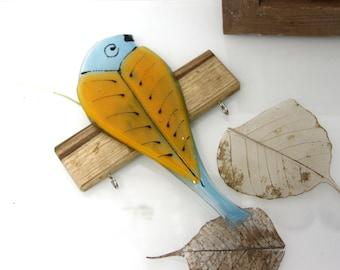 Bird  Hook, Wall Hook, light blue orang  bird Key rack, Jewelry Organization Key Hooks, Wall Decor glass painting