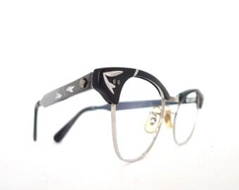 NOS Black Aluminum Cat Eye Frames with Gold Elements Designer Eyeglasses Sunglasses. Never Used. 1/10m 12k GF