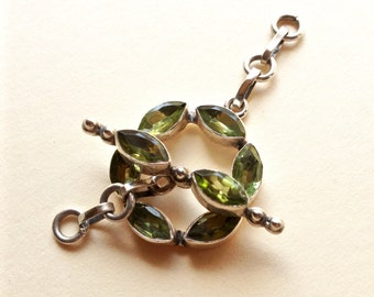 Marquis Peridot and Sterling Silver Toggle Clasp .925 21mm