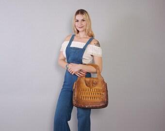 Vintage 70s LEATHER BAG / 1970s Boho Custom Made Tooled Leather Woven Oversized PURSE