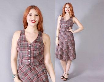 Vintage 70s PLAID SUIT / 1970s Gray Plaid Wool Fitted Vest & A-Line Skirt 2pc Dress Set XS