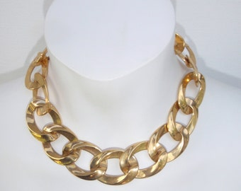 Vintage Necklace by Monet Gold Link, Chunky Goldtone for Women
