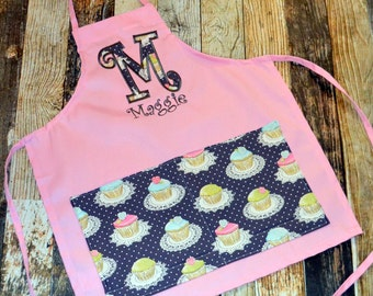 Personalized Child's Apron  - Pink or White Apron - Choose Your Fabrics - Great for Pretend Play or Dress Up - Boys or Girls