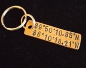 Custom Coordinate key chain, Romantic gift for him, Gifts for men, Coordinate gift, Latitude Longitude Key chain, Valentine gift for husband