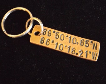 Custom Coordinate keychain, Romantic gift for him, Gifts for men, Coordinate gift, Anniversary gift for husband, Valentine gift for husband