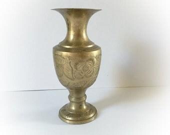 Vintage Brass Floral Etched Vase