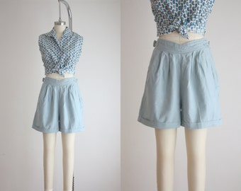 high waisted sky blue shorts