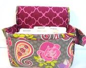 """Large 4"""" Size Coupon Organizer / Coupon Bag /Budget Holder Box Attaches to Your Shopping Cart  Rose Paisleys- Select Your Size"""