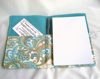 Honey Do List, Grocery List Taker/ Comes with- Note Pad and Pen - Pretty Green Paisley
