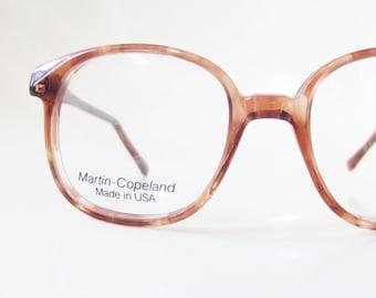 Vintage 1980s Wayfarer Eyeglasses Clear Dark Rose Brown Womens Ladies Glasses Sunglasses Martin Copeland Made in the USA American Designer