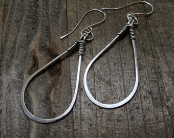 Extra Large and Bold Hammered Silver Hoop Earrings -