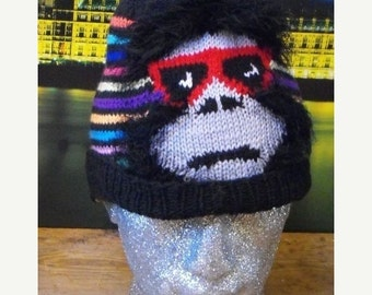 HALF PRICE SALE Instant Digital File pdf download knitting pattern Madmonkeyknitter Striped Beanie Hat knitting pattern Madmonkeyknits