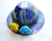Vintage Blue Multicolored Swirl Vase Dish Hat Blown Glass Candy Dish Bowl Yellow Flower