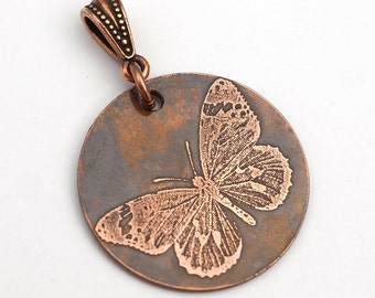Etched butterfly pendant, round flat copper, optional necklace, 28mm