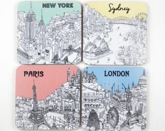 Set of 4 City Coasters