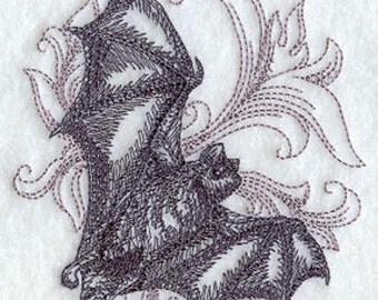 Bat with Baroque Background Embroidery Terry Hand Towel