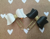 Faux  leather bow planner clips