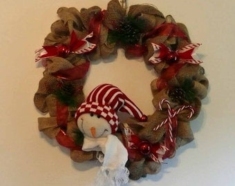 Snowman Burlap and Ribbon Holiday Wreath Wall Hanging