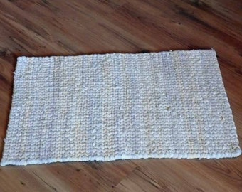 Twined Rag Rug in Pale Cream made from Recycled Materials