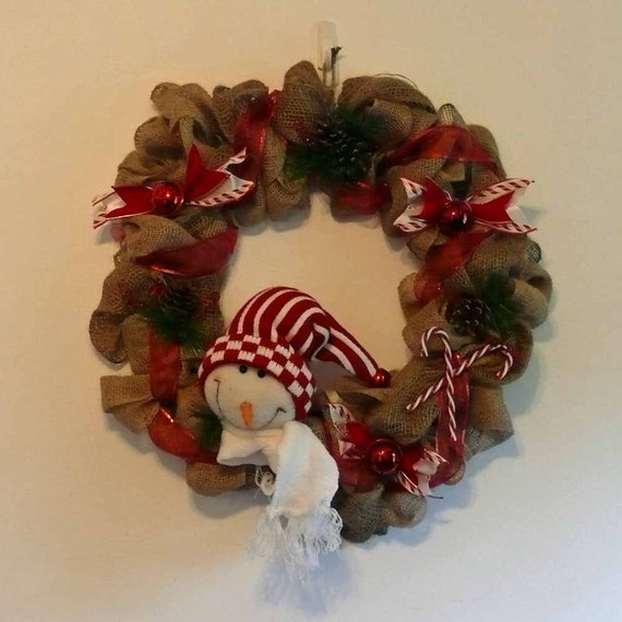 Snowman burlap and ribbon holiday wreath wall hanging for Burlap snowman wreath