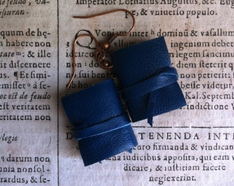 Mini book earrings, blu