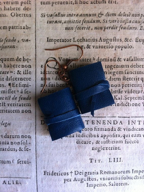 Mini book earrings, blu