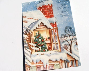 Xmas House Cards - Set Of 4 - Vintage Holiday - Christmas Note Cards - Snowy House - Christmas Tree - Card Set - Merry Christmas -