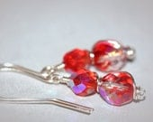 Bright Red Wire Wrapped Earrings