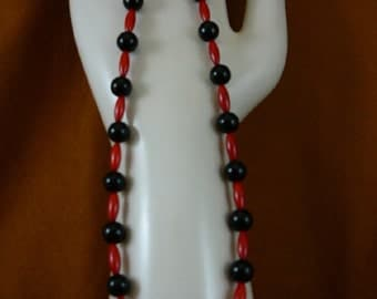 18 inch long 13x5 mm red bamboo coral with black onyx beaded Necklace jewelry V30-31
