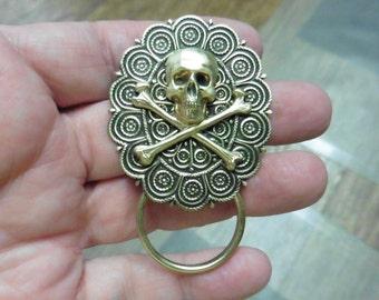 Skull and crossbones oval brass Eyeglass pin pendant ID badge holder eyeglasses loop E-888