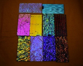 Ten 10 (4 x 2 inch) rectangles Dichroic glass for jewelry making supplies Clear and black, many colors coating