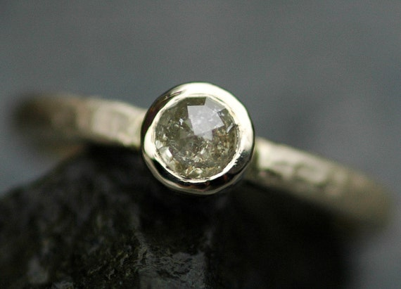 Rose Cut Diamond in  Recycled 14k Gold Ring- Made To Order