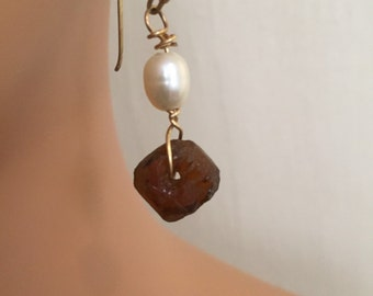 Pearl and Recycled Glass Earrings