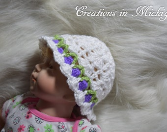 Flower Garden Cloche Hat Size Newborn - 3 Months